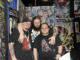 Martin Dunn, Derrick Fish, and a Fan at the CAE booth. Tampa Bay Comic Con '14
