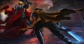 Revan fighting Mandalore the Ultimate