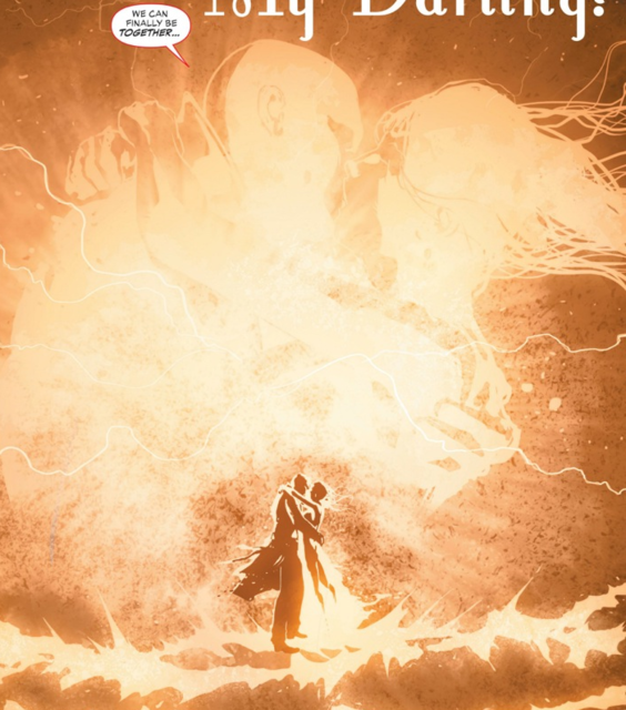 Madame Xanadu and Deadman (in John Constantine's body) share a kiss