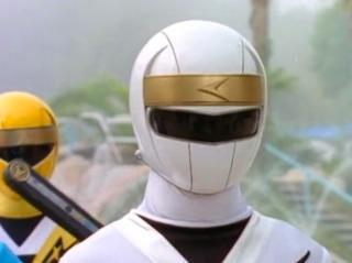 Delphine as the White Alien Ranger