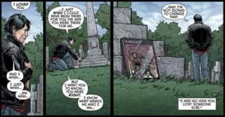 Dick visits Damian's grave.