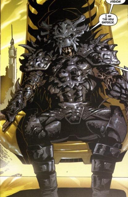 Krayt sitting upon the throne.