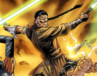 Hett wielding two lightsabers in battle.
