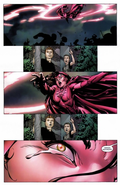 Wanda Maximoff attacking her friends during Avengers Disassembled.