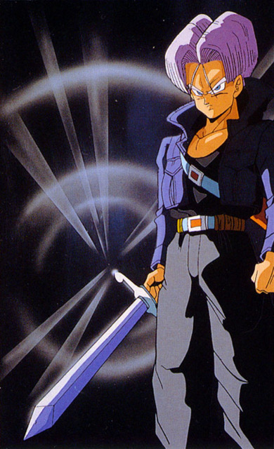 Future Trunks wielding his Sword