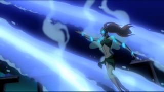 Mera fighting the invaders from Young Justice