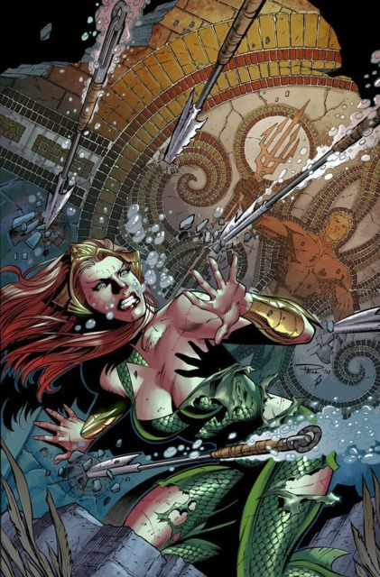 Mera using water to defend herself
