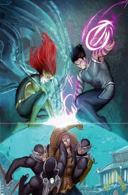 Mera is trying to break through the barrier to free her husband.
