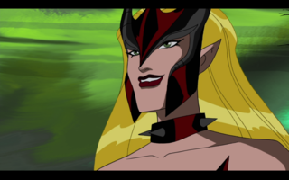 Amora reminding Loki of the terms of their deal