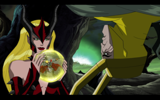 Amora teasing Loki by showing him the Avengers battle