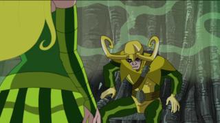 Amora using her magic to allow Loki to speak in the Isle of Silence.