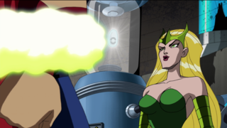 Enchantress restrains Thor before summoning her army to Earth