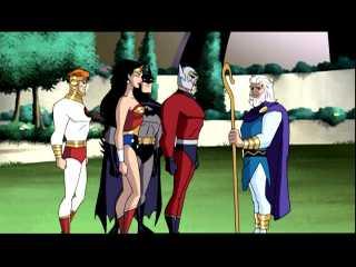 With Lightray, Wonder Woman, Batman and Highfather Izaya