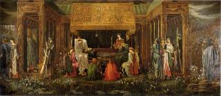 The last sleep of Arthur in Avalon. Painting by Edward Burne-Jones. Morgan (in white) is one of the nine fairies who watch over the king.