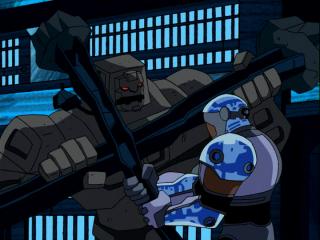 Cinderblock brawling with Cyborg.