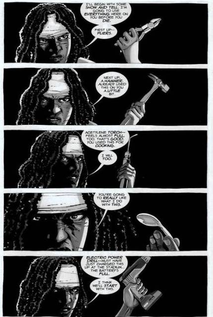 Michonne tells the Governor how she plans to torture him in The Walking Dead 33 (2010)