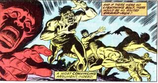 Swamp-Men in the Savage Land chased away after being used as minions in Avengers 105 (1972)