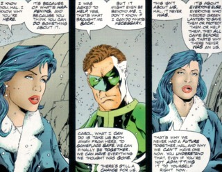 Carol talking with Hal as Final Night falls over Earth