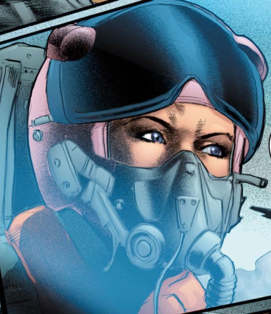 Carol 'Sapphire' Ferris in the pilot's seat defending America's coastline during the war