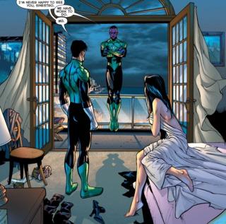 Sinestro interrupting their romantic morning