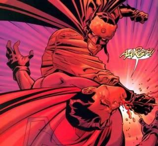 Batman fighting Superman