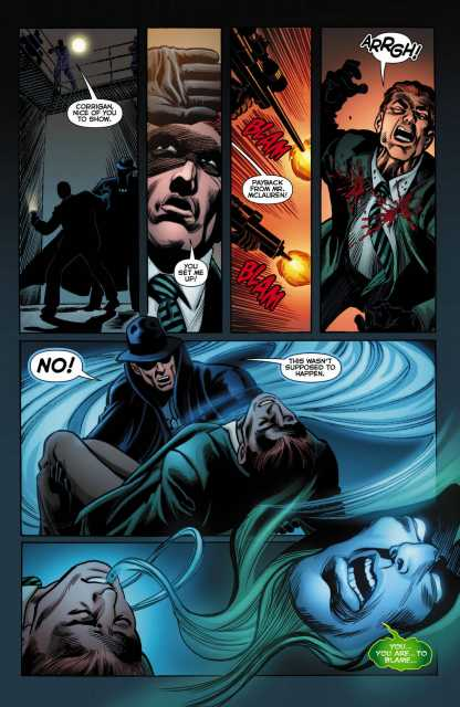 Jim Corrigan being shot, then turning into the Spectre.