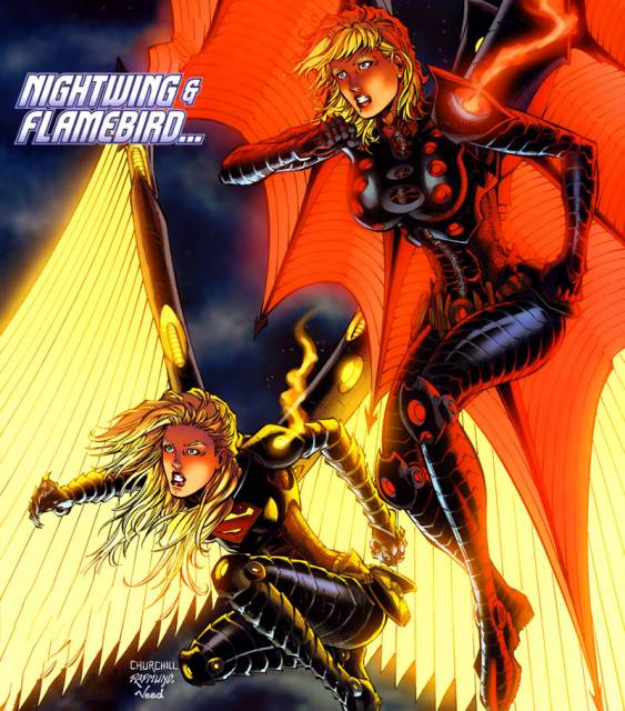 Power Girl and Kara as Nightwing and Flamebird