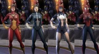Spider-Woman alternate costumes in MUA