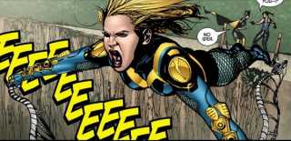 The Black Canary uses her Canary Cry to fly across a gorge