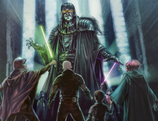 The spirit of Exar Kun faces the students of Luke's Jedi Praxeum