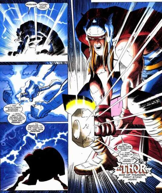 Mends Mjolnir together with lightning