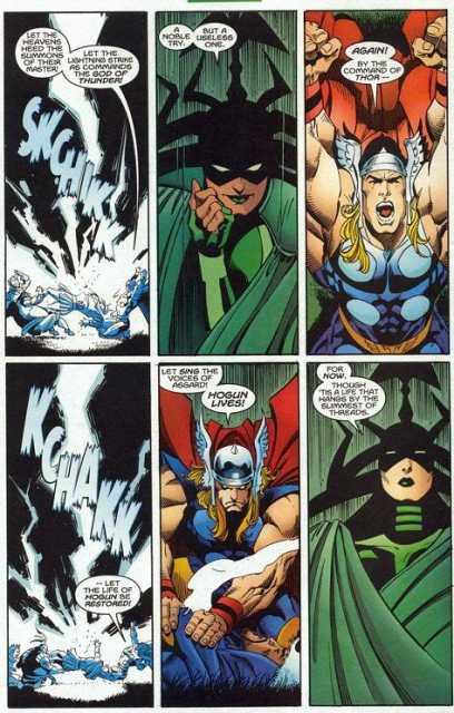 Revives Hogun with a lightning bolt