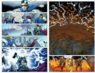 Incinerating the dead Asgardians with a lightning strike