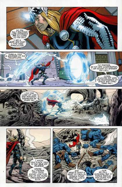 After hearing a cry from Loki, Mjolnir instantly opens portals to teleport Thor to his destination even though the location is unknown