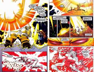 Thor tanks a blast from Thanosi that's is busting open the planet