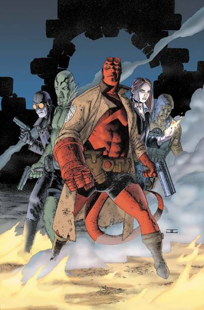 Hellboy with fellow members of the B.P.R.D.