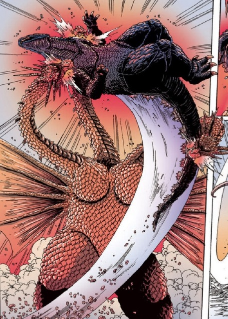 King Ghidorah shows Godzilla who the true King of the Monsters is.