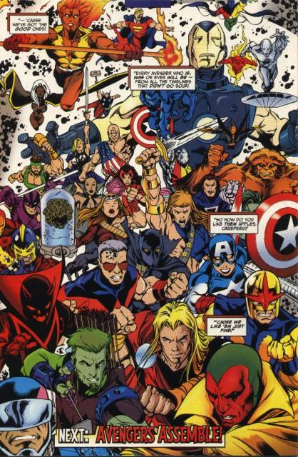 Avengers summoned from an infinite number of divergent timelines by Rick Jones prepare themselves for war.