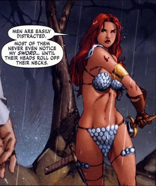 Explaining her bikini armor