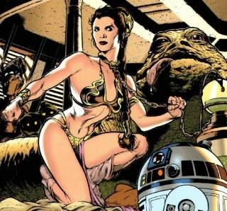 In the iconic metal bikini as Jabba's slave girl