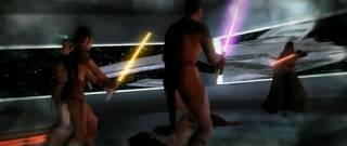 Bastila's Jedi strike team confronting Darth Revan