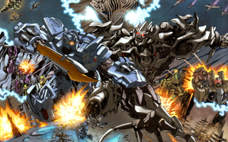 The Autobots fighting the Decepticons