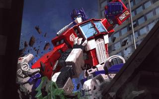 Optimus battles Sixshot.