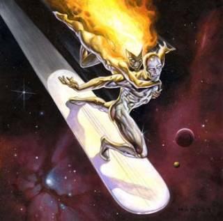 Nova (Frankie Raye) with the Silver Surfer.