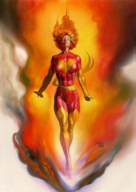 Jean Grey as Phoenix. Art by Julie Bell