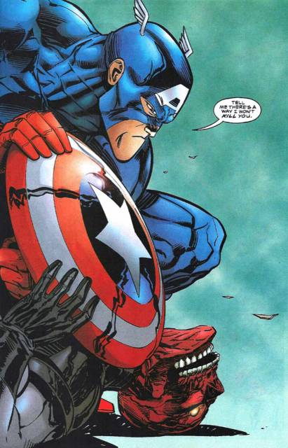 After being revived by the Red Skull, Cap shows his appreciation.