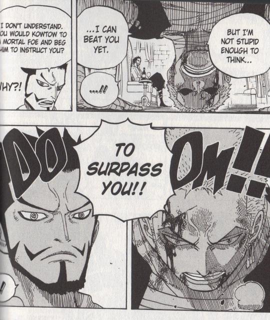 Zoro asks Mihawk to train him.