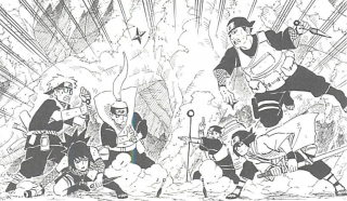 Team Nako vs. Team Hayate in the Chūnin Exams