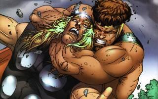 Hercules - choking Thor in hand-to-hand combat.