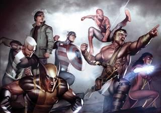 Hercules leading the Avengers against New Olympus